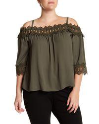 Breathless - Green Off-the-shoulder Crochet Trim Blouse (plus Size) - Lyst