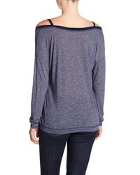 Michael Stars - Multicolor Front To Back Cold Shoulder Long Sleeve Tee - Lyst