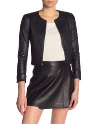 Theory Black Morene Cropped Leather Jacket