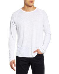 Vince White Long Sleeve Linen T-shirt for men