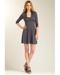 Three Dots - Gray 3/4 Sleeve Dress - Lyst