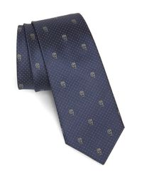 Alexander McQueen Blue Skull Silk Tie for men