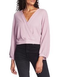 1.STATE Pink Faux Wrap Sweater