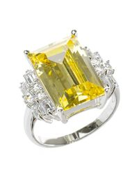 Kenneth Jay Lane - Metallic Prong Set Faceted Cz Ring - Lyst