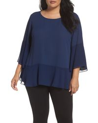 Sejour - Blue Flare Sleeve Double Layer Top (plus Size) - Lyst