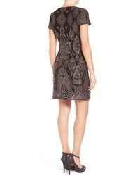 Jump - Black Glitter Pattern Body-con Dress - Lyst