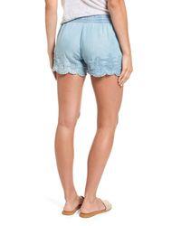 Dex | Blue Eyelet Chambray Shorts | Lyst