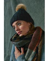 BP. - Black Knit Beanie With Faux Fur Pompom - Lyst