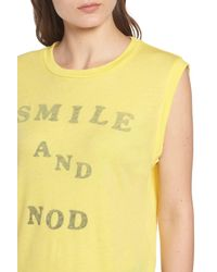 Wildfox Yellow Smile And Nod Vintage Muscle Tee