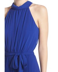 Eliza J - Blue Pleated Chiffon Maxi Dress - Lyst