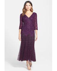 Pisarro Nights Purple Dropped-Waist Beaded Mesh Dress