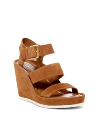 CALVIN KLEIN 205W39NYC - Brown Hailey Suede Wedge Sandal - Lyst