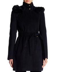 Ellen Tracy - Black Faux Fur Hood Wool Blend Coat - Lyst