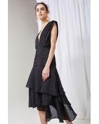 Keepsake - Black Waterfall Burnout Stripe Dress - Lyst