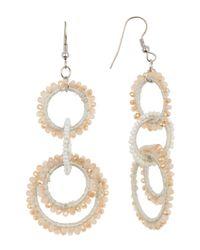 Panacea White Crystal Linear Circles Drop Earrings