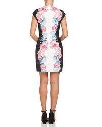 Cece by Cynthia Steffe - Black Colorblock Floral Sheath Dress - Lyst