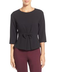 Cece by Cynthia Steffe - Multicolor Bow Detail Crepe Peplum Shirt - Lyst