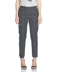 Cece by Cynthia Steffe | Black Ditsy Leaf Double Weave Slim Pant | Lyst