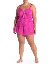 Cosabella Pink Ferrara Lacy Romper (plus Size)