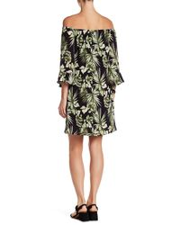 Bobeau Black Floral Ruffle Sleeve Dress