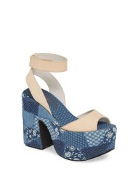 Jeffrey Campbell Blue Myla Patchwork Platform Sandal