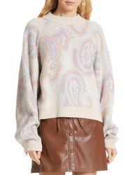 Nanushka Multicolor Casey Paisley Merino Wool & Cashmere Blend Sweater