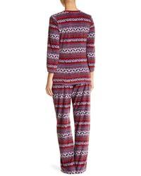 Maidenform - Red Fleece Pajama Set - Lyst