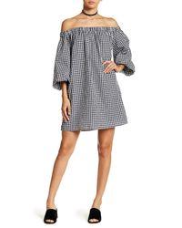Soprano Multicolor Gingham Off-the-shoulder Dress