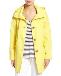Ellen Tracy | Yellow A-line Detachable Hood Sailcloth Coat | Lyst