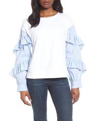 Halogen - White Poplin Ruffle Sleeve Sweatshirt - Lyst