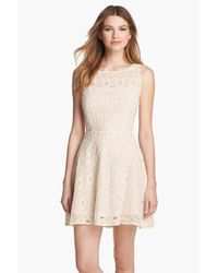 BB Dakota Red Renley Lace Fit And Flare Dress