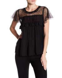 Romeo and Juliet Couture Black Crochet Pleated Short Sleeve Blouse