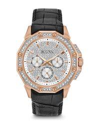 Bulova Black Men's Crystal Accented Watch, 42mm for men