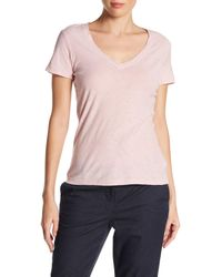 James Perse - Orange Slub Cotton V-neck Tee - Lyst