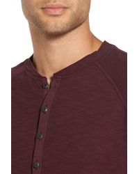 Good Man Brand - Purple Long Sleeve Henley Shirt for Men - Lyst