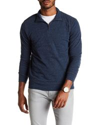 Faherty Brand Blue Maled 1/4 Zip Pullover for men