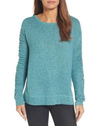 Caslon - Blue Caslon Ruched Sleeve Pullover - Lyst