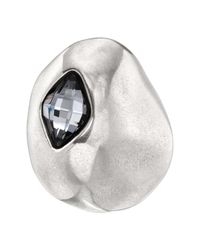Uno De 50 On The Moon Gray Swarovski Crystal Accented Shield Ring