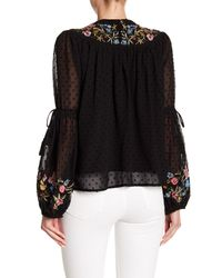 Haute Rogue - Black Embroidered Bishop Sleeve Clip Dot Top - Lyst