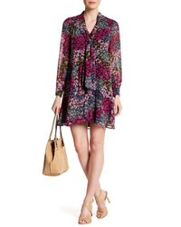 Cece by Cynthia Steffe Multicolor Aleah Tie Neck Floral Pattern Dress
