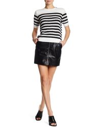 French Connection | Black Faux Leather Zip Skirt | Lyst