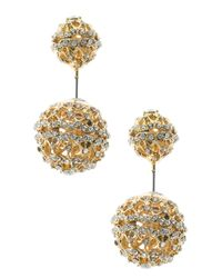CZ by Kenneth Jay Lane - Metallic Pave Cz Double Ball Earrings - Lyst