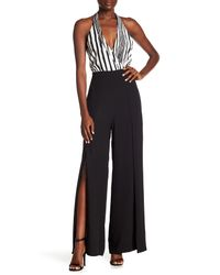 BCBGMAXAZRIA - Black Striped Halter Jumpsuit - Lyst