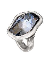 Uno De 50 Micron Silver Flash Freeform Blue Swarovski Crystal Element Ring