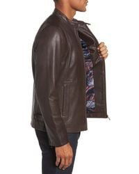 Ted Baker - Brown Mate Leather Biker Jacket for Men - Lyst