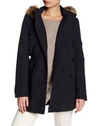 Jack BB Dakota | Black Medici Faux Fur Trim Hooded Jacket | Lyst