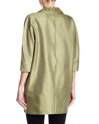 Max Mara - Green Embellished Collar Oversized Coat - Lyst