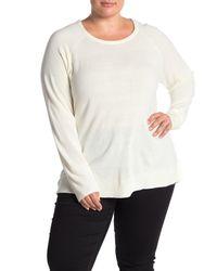 Sweet Romeo White Modern Girl Crew Neck Sweater (plus Size)