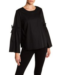Cece by Cynthia Steffe - Black Ruffle Bell Sleeve Blouse - Lyst