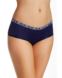Natori | Blue Lace Trim Boy Shorts | Lyst